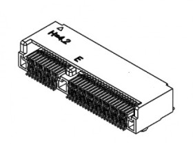 M.2 4.2H 67PIN 0.5MM PITCH, E KEY, SMT,TOP-MOUNT,R/A,